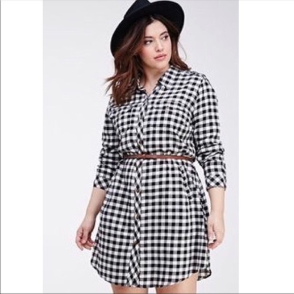 ❤️HP❤️ F21 Plus Size Gingham/Plaid Shirt Dress